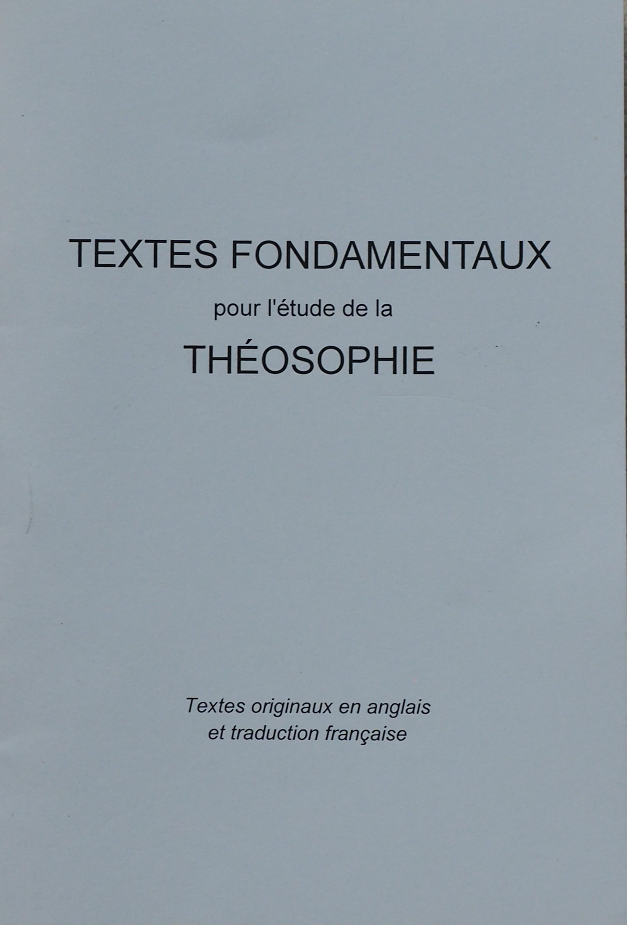 Photo couverture des Textes Fondamentaux de la Théosophie